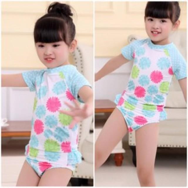 f00698c9163d8 キッズ ジュニア 女の子 子供 水着 半袖Tシャツ パンツ ブルー 90 100 110 120 130