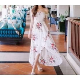 オフショルダーフラワーレイヤードワンピース ドレス リゾート ビーチ ロングワンピース バカンス サンドレス