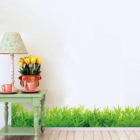ウォールステッカー 青々と生い茂った草むら 壁紙シール ガーデン風 緑の葉 芝生 足元 窓ガラスに はがせる インテリアデカール