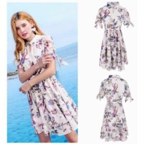 レディース シフォン ワンピース ドレス ボリュームスリーブ 花柄 半袖 ホワイト S M L XL サイズ 送料無料