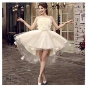 期限セールカラードレス パーティードレス 結婚式ワンピース 二次会 花嫁ドレス ベアトップ ミニ丈 編み上げ 不規則ドレス