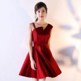 立体カットデザイン ワンショルダー風赤パーティードレス 膝丈 レンタル パンツ 安い ロング 韓国 大きいサイズ ブランド