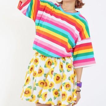 ミニスカート - sevens ひまわり柄ギャザースカート