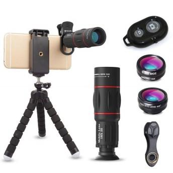 ActyGo (高品質HD18X望遠レンズ付きスマホレンズ4点セット) 正規品 Bluetooth ワイヤレスリモコン ゴリラポッド三脚付き セルカレンズ 198°魚眼 0.63X広角 15X