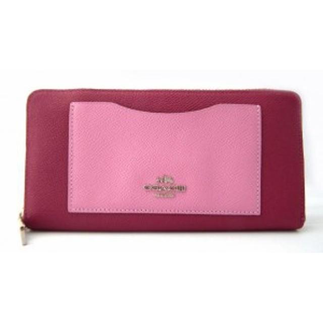 aa228a1d38a3 未使用 コーチ 長財布 レザー ピンク 財布 アウトレット 型押しレザー アコーディオンジップウ