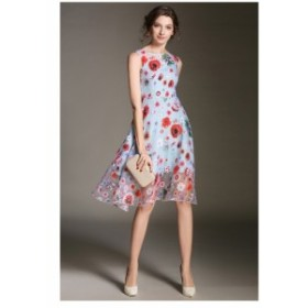 色鮮やかな柄が立体的で美しい* フラワープリントドレス フレッシュなパーティースタイル 2546