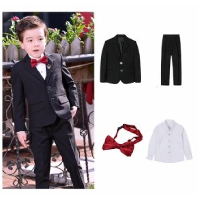 509cb543c6b46 男の子 スーツ キッズ ジュニア フォーマル スーツ 子供服 4点セット 無地 黒 紺 紳士服