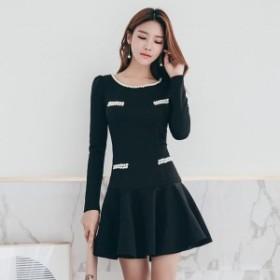 パール 可愛い ブラック フレア ミニワンピ ミニワンピース ビジュー フレアスカート ミニ デート服