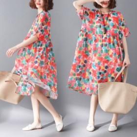 ワンピース  半袖 花柄 シフォン レディースドレス ひざ下 ゆったり 大きいサイズ 通勤  旅行 2018年夏新作!