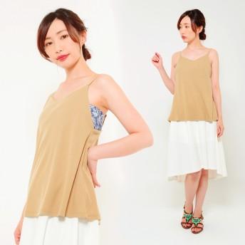 キャミソール - CLOTHY ■透けにくい&シームレス■テレコ素材 ダブルフロント フレア 無地 キャミソール(M/L)