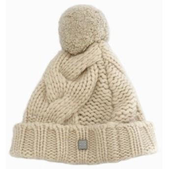 小さめ シャネル ニット帽子 ココマーク カシミヤ100% ケーブル編み ボンボン付 CCマーク C