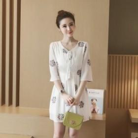 ワンピース ミニ丈 5分袖 花柄 刺繍 シフォン フレア ゆったり フェミニン ガーリー キレイ