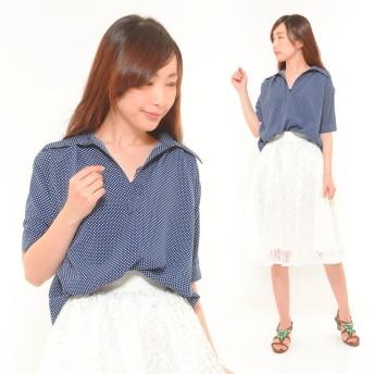 ブラウス - CLOTHY ドットプリント フロント ブラウジング 無地 半袖 抜き襟 スキッパー シャツ