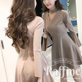パーティードレス 韓国 ワンピース 二次会 結婚式 お呼ばれ ドレス チョーカー Vネック 二次会 アプリコット ベージュ S M L XL  おしゃ