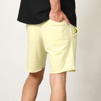 ハーフパンツ - improves メンズファッション ハーフパンツ スウェット パイル ロゴ スウェットパンツ ウエストゴム スウェットパンツ 切りっぱなし イエローミント 黄 緑 ショートパンツ ハーフパンツ メンズ メンズファッション メンズ お兄系 ストリート系 オラオラ
