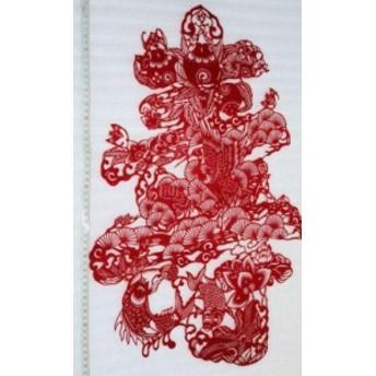 切り絵・「鯉・松の花文字・寿」・中国民間芸術切り紙細工
