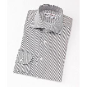 <フェアファクス/FAIRFAX> ワイドカラー/ストライプ柄/長袖ドレスシャツ(05002) ブラック 【三越・伊勢丹/公式】