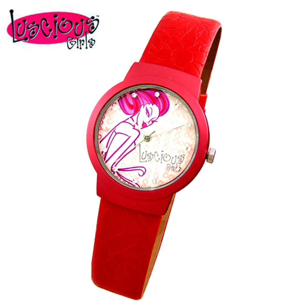 Luscious Girls浪漫少女 玩美女人時尚晶鑽女錶(LG020A艷麗紅)