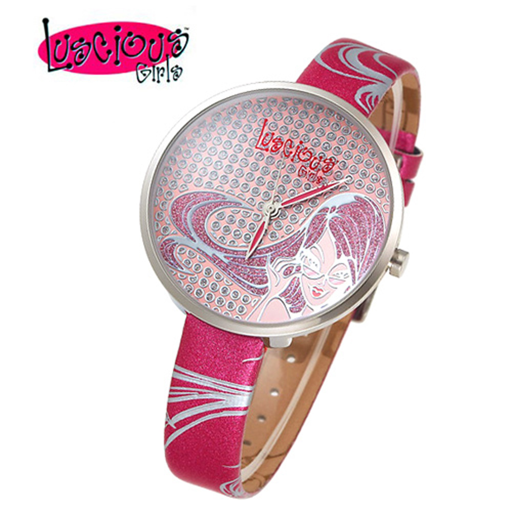 Luscious Girls浪漫少女 米蘭之星晶鑽女錶(LG009C蜜糖紅)