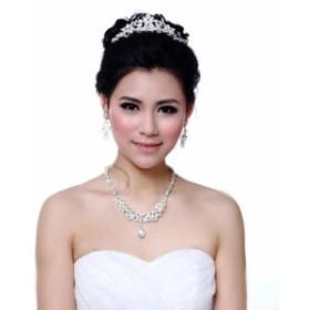 【即納】 結婚式、花嫁アイテム、ブライダルアクセサリーのネックレス&ピアスorイヤリング&ティアラの3点ジュエリーセット  ブライ