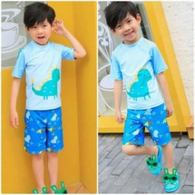 キッズ ジュニア 男の子 子供 水着 半袖Tシャツ&ショートパンツ 日焼け防止 ブルー S M L XL 2XL 送料無料