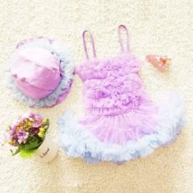 キッズ 女の子 水着 2点セット 帽子付き フリル ふわふわ ワンピース ピンク パープル 送料無料