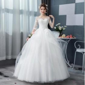 結婚式 ウェデイングドレス ロングドレス ホワイト プリンセス チュール ホルターネック おしゃれ 上品 高級 編み上げ