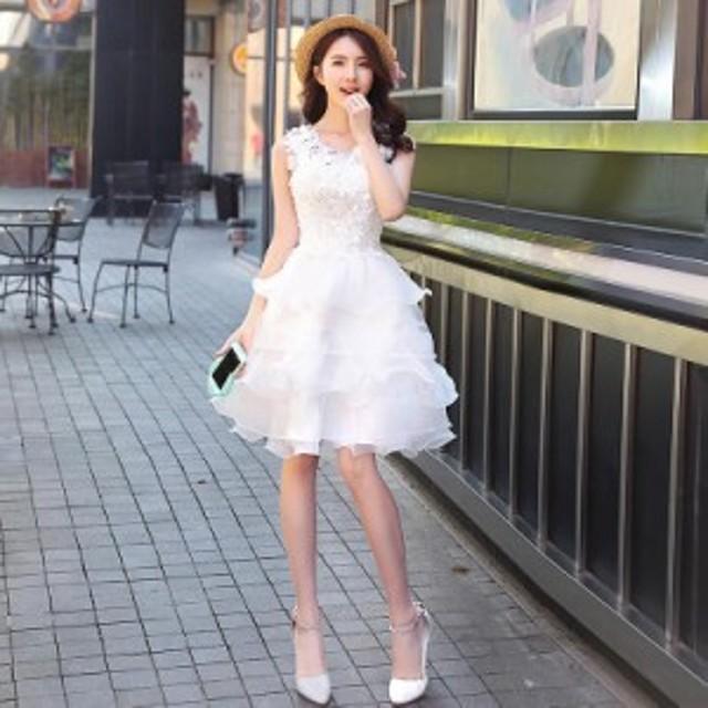 結婚式 パーティードレス ミニ丈ドレス ホワイト プリンセスドレス ノースリーブ おしゃれ 上品 高級 フレア S/M/L/XL