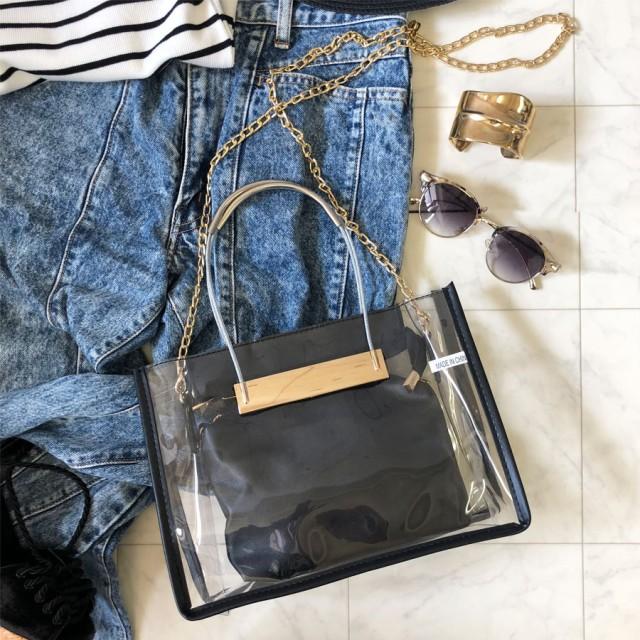 378503820874 ハンドバッグ - CELL クリアチェーンバッグ BAG 鞄 トレンドバッグ ハンドバッグ ショルダーバッグ スケルトン 透明バッグ