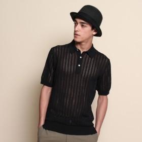 40CARATS&525 BY TAKEO KIKUCHI ◆メッシュニットポロシャツ ブラック(019) 03(L)