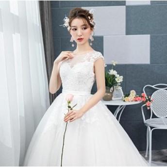 編み上げ ロングドレス ホワイト プリンセス ウェデイングドレス チュール ホルターネック おしゃれ 上品 高級 結婚式