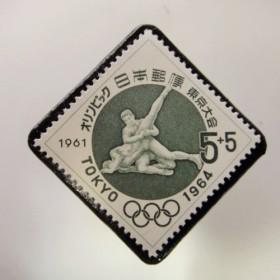 日本 東京オリンピック切手ブローチ 3718
