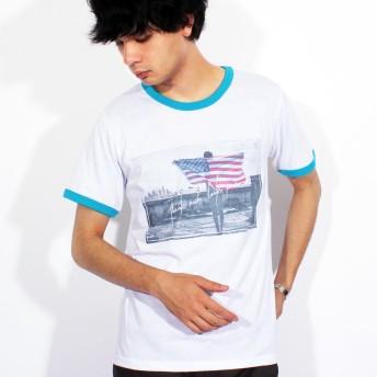 Tシャツ - 8(eight) Tシャツ メンズ 半袖 Tシャツ全3色 新作 Tシャツフォト リンガー 半袖Tシャツ オレンジコットン 綿 ブルー 白 フォトM L ストリート系 アメカジ系8(eight) エイト 8