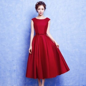 パーティードレス パーティドレス ミモレ丈 ひざ丈 ウェディング ロングドレス イブニングドレス 大きいサイズ 二次会