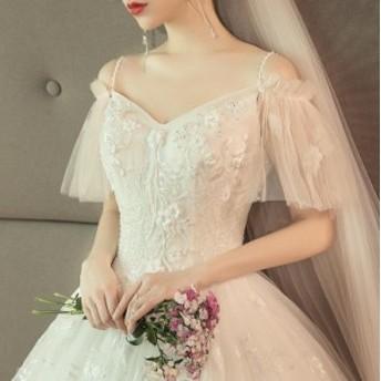 ウェディングドレス結婚式 花嫁 シャンパン キャミ 刺繍花柄 高級 フレア袖 Vネック レディース チュール スリム きれいめ ロングドレス
