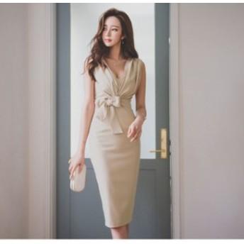 韓国 リボン 可愛い 大人 セクシー ワンピース タイト 膝丈 Vネック OL オフィスファッション オフィスカジュアル