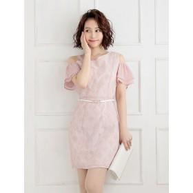 ドレス - Ryuyu キャバ ドレス キャバドレス ピンク キャバクラ ミニドレス パーティードレス Belsia 袖付きドレス ドット ワンショルダー袖フリル 小さいサイズ セクシー ドレス