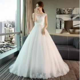 結婚式 ドレス ウェデイングドレス チュールドレス きれいめ ドレス 花嫁 ロングドレス 着痩せ 高級 レディース ホワイト