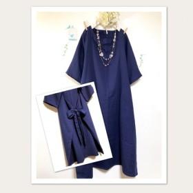 後ろリボン ️紺色★大人のWガーゼ/ ロング丈【色変更、半袖変更ok‼️】