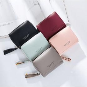 新品レディース短財布 シンプル三つ折り財布 タッセル付き ファスナー付きコインケース マルチカラーウォレット 韓国ファッション カード入れ 定期入れ 小銭入れ きれいで可愛い