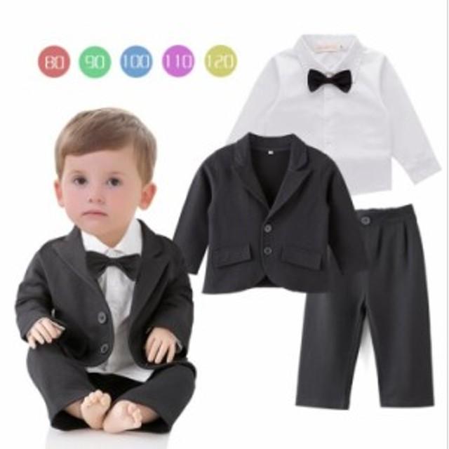 da498790095b2 子供服 フォーマル スーツ 3点セット ベビー服 タキシード 赤ちゃん 子供 男の子 キッズ おしゃれ 出産祝い