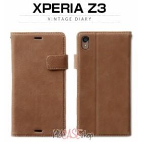 docomo au softbank【Xperia Z3 ケース】ZENUS Vintage Diary (ビンテージダイアリー)Vintage Brown 本革,牛革,手帳型,フリップ,ブック