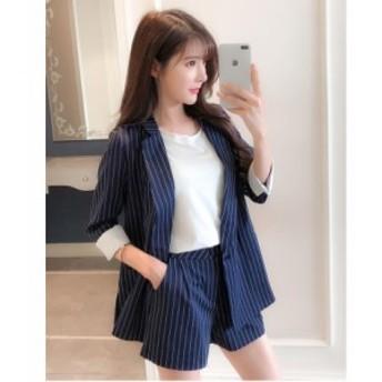 レディースファッション ジャケット+パンツ フォーマル 韓国スタイル  パンツスーツ 2点セット 通勤OL 結婚式 スーツ 卒業式