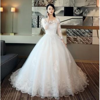 ウェディングドレス 結婚式 大きいサイズ 花柄 ロング丈 チュール 高級 編み上げ ホワイト プリンセス ロングドレス 長袖