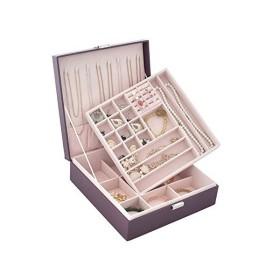 二重真四角の形 アクセサリーボックス ジュエリー ネックレス イヤリング ブレスレット 大容量 収納 携帯用 持ち運び レディー記念日プレゼントレザ