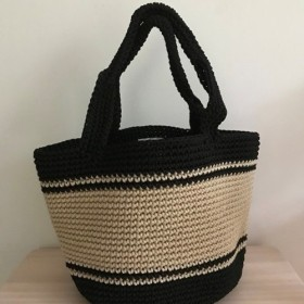 手編みバッグ 丸形 2トーン