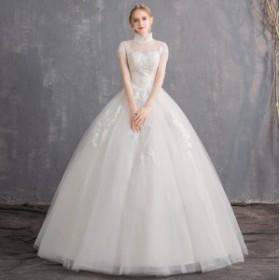 ブライダルドレス ホワイト 花嫁 結婚式ドレス スリム 立ち襟 おしゃれ ウェディングドレス 編み上げ きれいめ レース