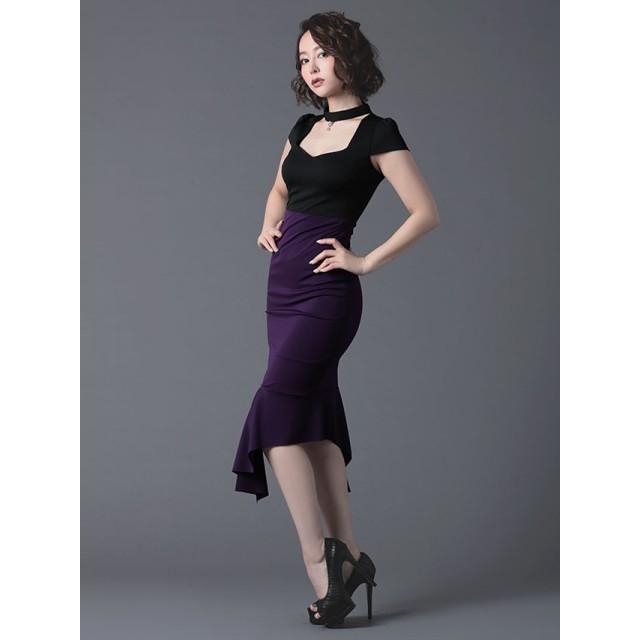 f5694805e71a1 ドレス - Retica LaLaTulle ララチュールチョーカー風ネックアシメントリースカートミディ丈タイトドレス(
