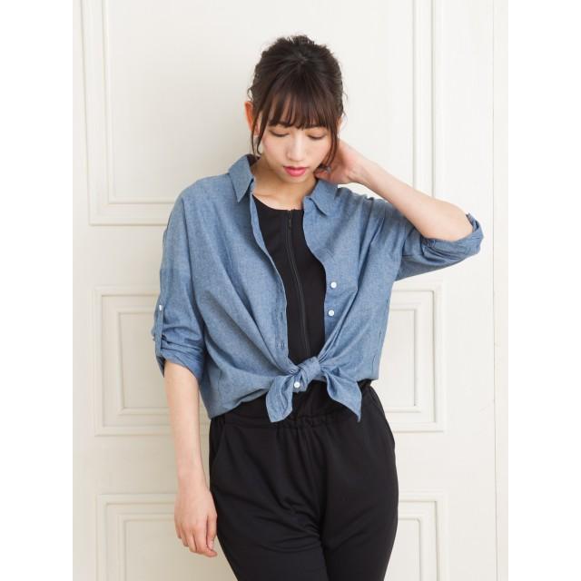 f48a63e6e1a シャツ - Marblee 衿抜きデニムシャツ トップス 羽織り 人気 ざっくり 20代 30代 40