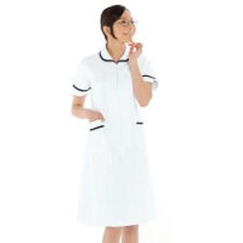 KAZEN ワンピース半袖 (ナースワンピース) 医療白衣 ホワイト×ネイビー S 021-28(直送品)